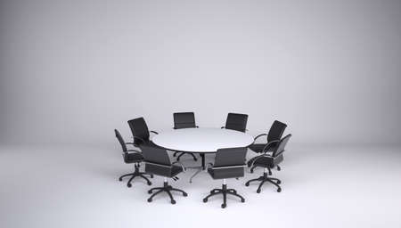 collegial: Round table and eight office chairs on a gray background  Cooperation concept