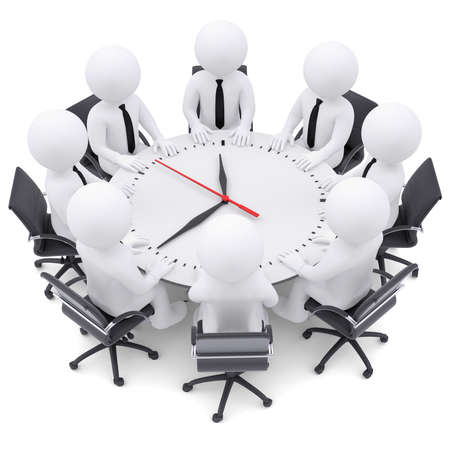 3d white people sitting at the round table  On the table a large clock  The concept of time photo