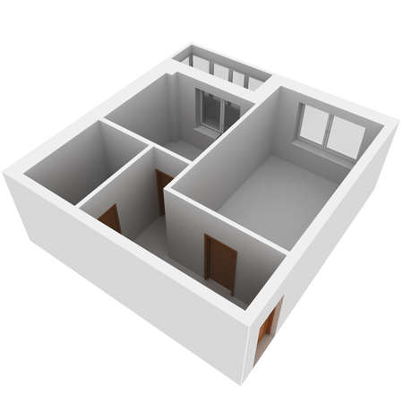 architecture plans: 3d apartment plan  Isolated render on a white background