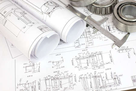 Construction drawings, caliper and bearing  Desk Engineer