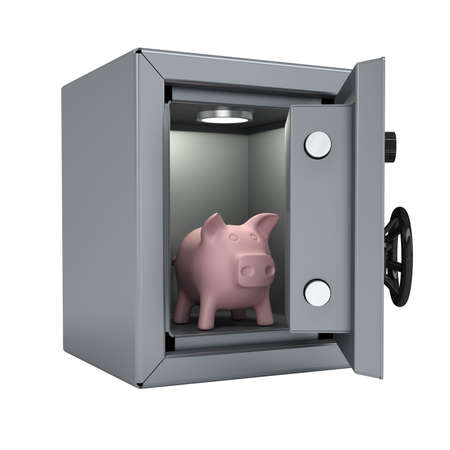 Piggy bank in an open metal safe  Piggy illuminated lamp  Isolated render on a white background photo