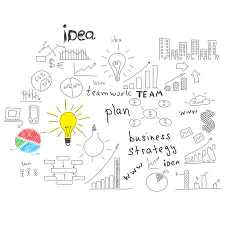 Business sketches  charts, buildings, electronics, bulbs, words and more  Isolated on white background photo