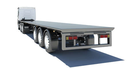 Truck with semitrailer platform  Rear view  Isolated render on a white background photo