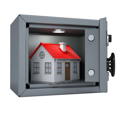 Small house in an open metal safe  House illuminated lamp  Isolated render on a white background photo