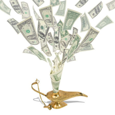 Money fly out of Aladdin s magic lamp  Business concept photo