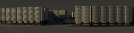 Residential district  3d rendering against the morning sky photo