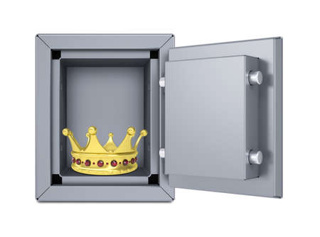 guard box: Gold crown in open safe  Isolated on white background