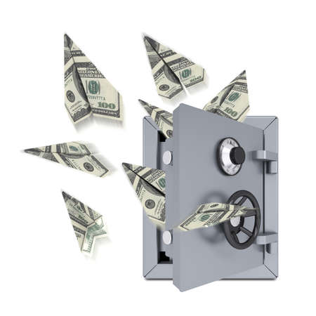 Paper airplanes of dollars from an open safe  Isolated on white background photo