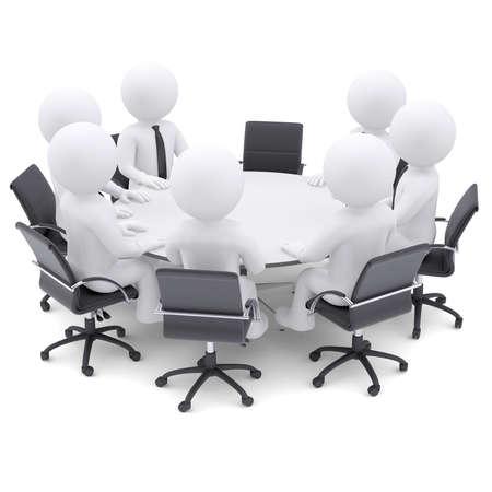 라운드 테이블 한 의자에서 3D 흰색 사람들이 개념은 전체 회의 아닙니다 비어