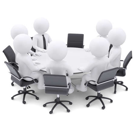 3d white people at the round table  One chair is empty  The concept is not complete conference Stock fotó - 27013084