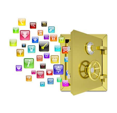 Application icons in the open safe  Isolated on white background photo
