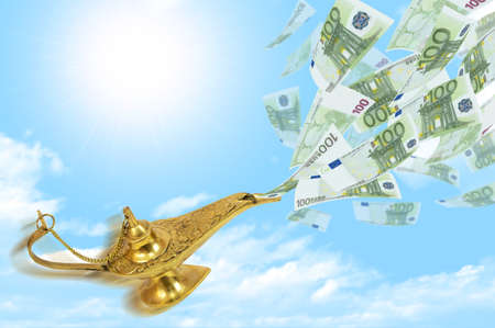 fulfillment: Money fly out of Aladdin s magic lamp  Business concept