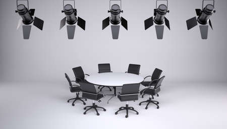 collegial: Round table and eight office chairs on a gray background  On the ceiling of the studio lighting lamps  Cooperation concept Stock Photo