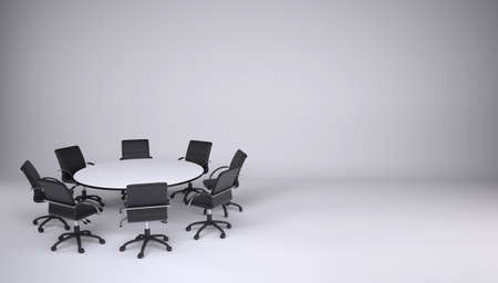 round chairs: Round table and eight office chairs on a gray background  Cooperation concept