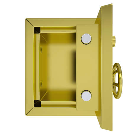 Opened gold safe  Isolated render on a white background photo