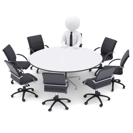 3d white man at the round table  Seven empty chairs  The concept is not complete conference photo