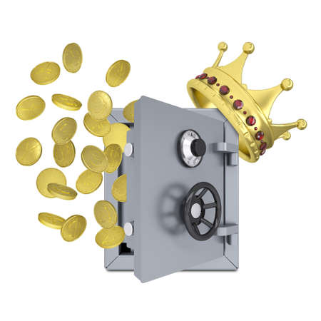 Gold crown, safe and coins  Isolated on white background photo