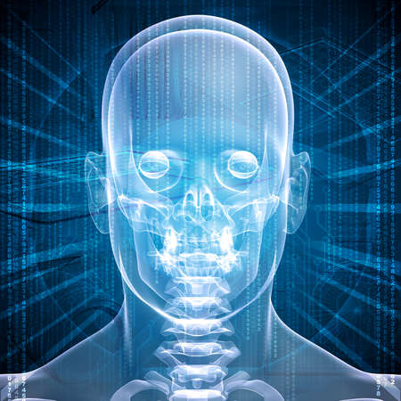 X-ray image of a man s head, graphics and communication in the background photo