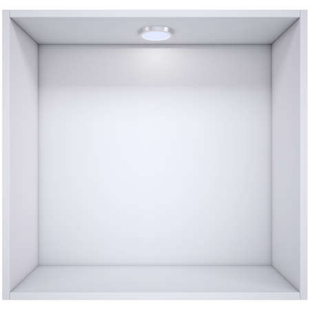 light source: White shelf with a light source  Isolated render on a white background