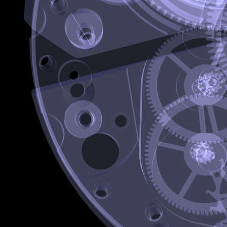 Clock mechanism  Isolated X-ray render on a black background photo