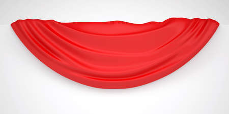 bends: Red cloth on a white wall  Fabric with folds and bends