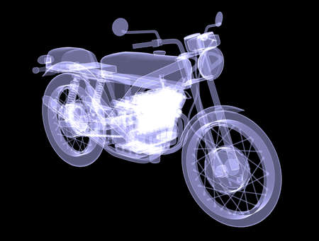 x ray machine: Motorcycle  X-Ray render isolated on black background