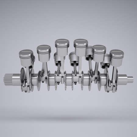 pitman: Crankshaft and pistons  Render on a gray background