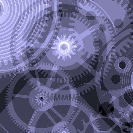 Klok mechanisme Geïsoleerde X-ray geeft op een zwarte achtergrond Stockfoto