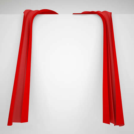 portiere: Red cloth on a white wall  Fabric with folds and bends