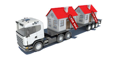 Truck carries two houses  Isolated render on a white background photo
