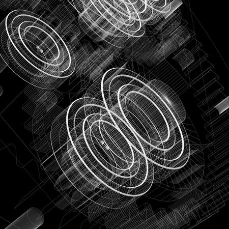 Gears and bearings  Wire-frame render on a black background Banque d'images
