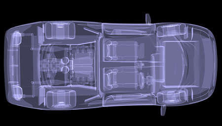 X-ray concept car  Top view  Isolated render on a black background