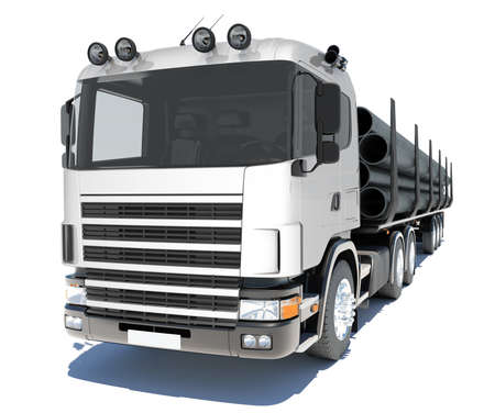 Truck transporting pipe  Isolated render on a white background photo