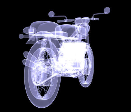 motorist: Motorcycle  X-Ray render isolated on black background