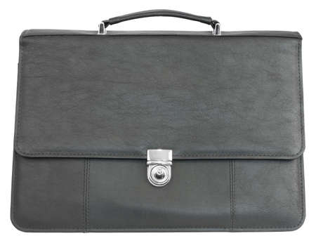 Black leather briefcase  Isolated on white background photo