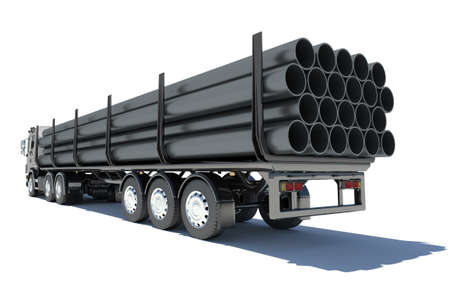 Truck transporting pipe  Rear view  Isolated render on a white background