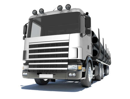 Truck transporting pipe  Isolated render on a white background