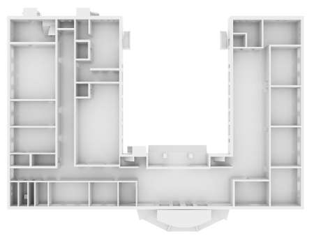 floorplan: Abstract white floor  Top view  Isolated render on a white background