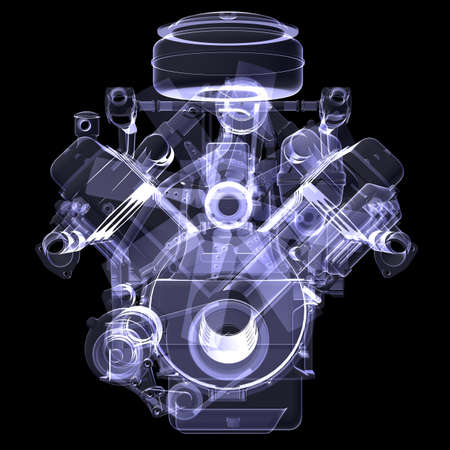 pistons: Diesel engine  X-ray render isolated on black background