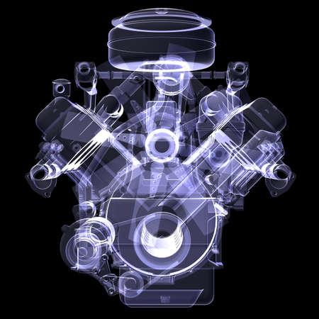 Dieselmotor X-ray renderen geïsoleerd op zwarte achtergrond Stockfoto