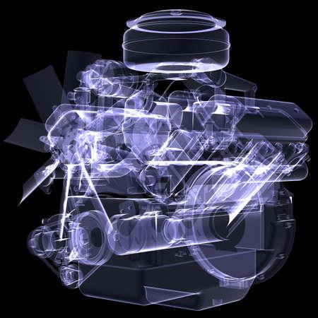 wasserstoff: Diesel-Motor X-ray rendern auf schwarzem Hintergrund isoliert Lizenzfreie Bilder