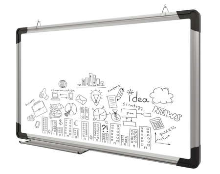 White magnetic board and business sketches isolated on white background  Business concept photo