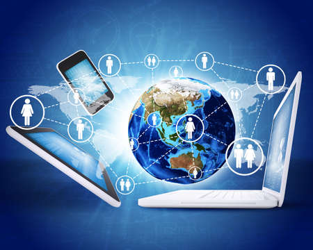 Earth globe and electronics  Concept of communication  Elements of this image are furnished by NASA photo