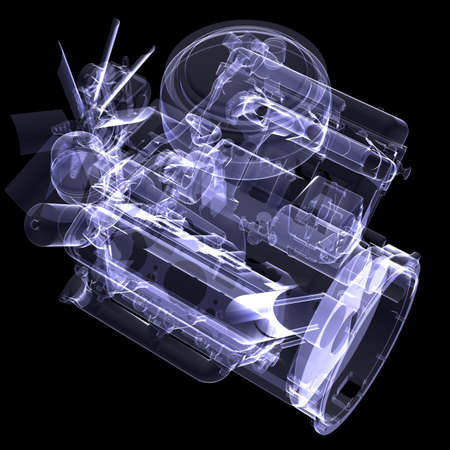 Diesel engine  X-ray render isolated on black background photo