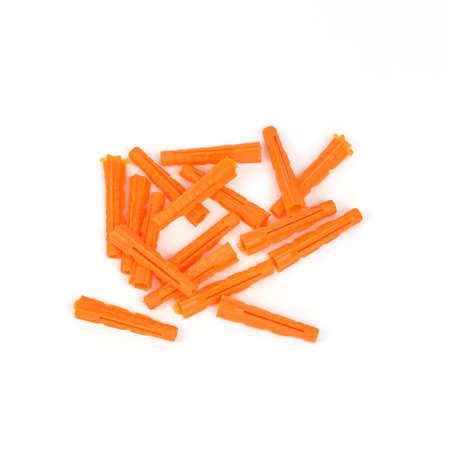 dowel: Plastic construction dowels  Isolated on white background Stock Photo