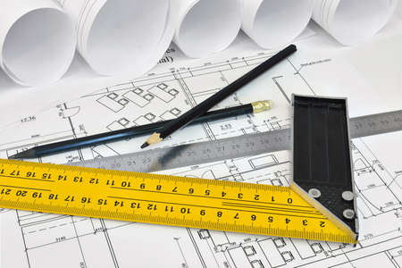 architect tools: Scrolls architectural drawings and tools of the architect  Desk architect Stock Photo