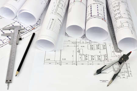 Scrolls Architectural Drawings And Tools Of The Architect Desk Stock Photo Picture Royalty Free Image 27703417