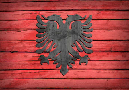 albanian: Albanian flag painted on wooden boards  Grunge style