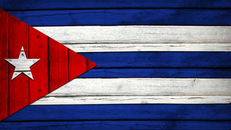 cuban flag: Cuban flag painted on wooden boards  Grunge style