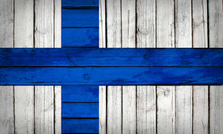 finnish: Finnish flag painted on wooden boards  Grunge style Stock Photo
